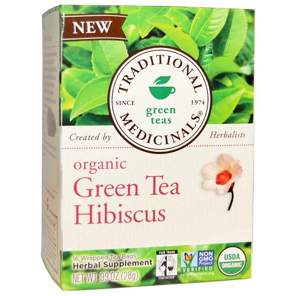 Traditional Medicinals, Green Teas, Organic Green Tea Hibiscus, 16 Wrapped Tea Bags, .99 oz (28 g) (Discontinued Item)