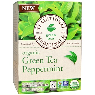 Traditional Medicinals, Green Teas, Organic Green Tea Peppermint, 16 Wrapped Tea Bags, .85 oz (24 g)