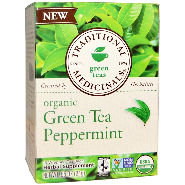 Traditional Medicinals, Green Teas, Organic Green Tea Peppermint, 16 Wrapped Tea Bags, .85 oz (24 g) (Discontinued Item)