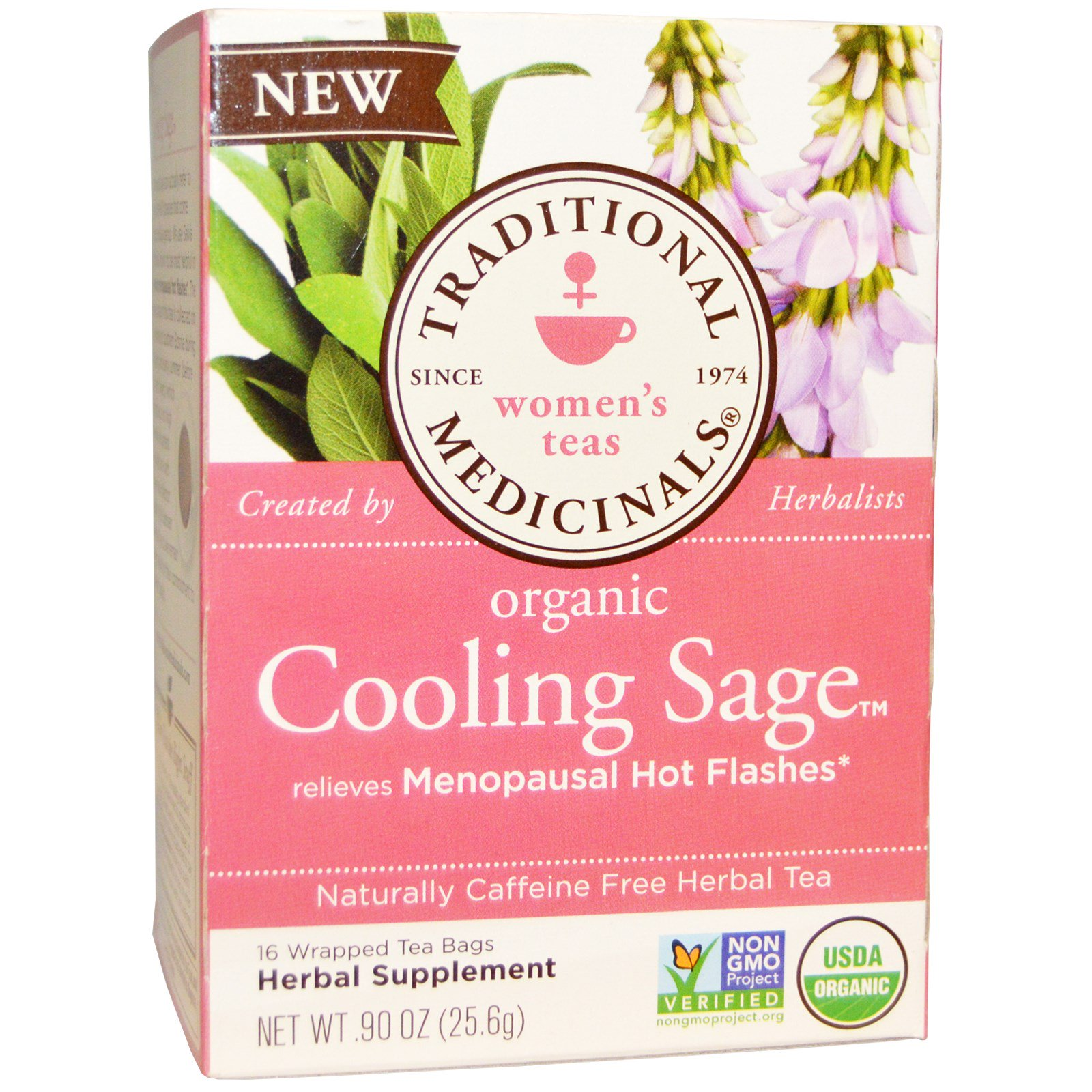 Traditional Medicinals Organic Cooling Sage Tea Caffeine Free 16 Wred Bags