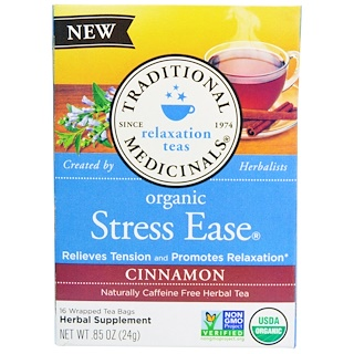 Traditional Medicinals, Relaxation Teas, Stress Ease, Organic, Naturally Caffeine Free, Cinnamon, 16 Wrapped Tea Bags, .85 oz (24 g)