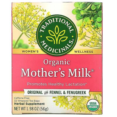Купить Traditional Medicinals Mother's Milk, органический фирменный чай с фенхелем и пажитником, без кофеина, 32чайных пакетиков, 56г (1, 98унции)