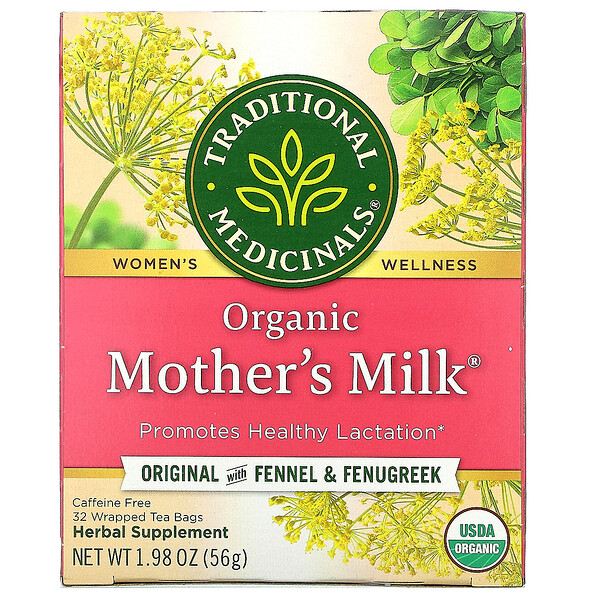 Traditional Medicinals, Organic Mother's Milk, Original with Fennel & Fenugreek, Caffeine Free, 32 Wrapped Tea Bags, 1.98 oz (56 g)