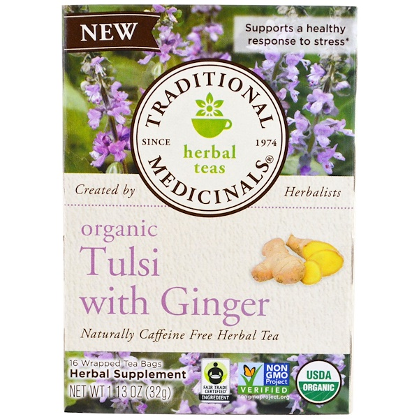 Traditional Medicinals, Organic Tulsi with Ginger , 16 Wrapped Tea Bags, 1.13 oz (32 g)