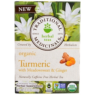 Traditional Medicinals, Organic Turmeric with Meadowsweet & Ginger , 16 Wrapped Tea Bags, 1.13 oz (32 g)