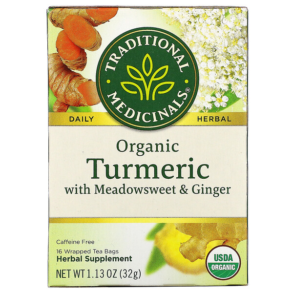 Organic Turmeric with Meadowsweet & Ginger, Caffeine Free, 16 Wrapped Tea Bags, 1.13 oz (32 g)