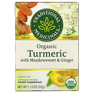 Традитионал Медисиналс, Organic Turmeric with Meadowsweet & Ginger, Caffeine Free, 16 Wrapped Tea Bags, 1.13 oz (32 g) отзывы покупателей