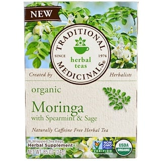 Traditional Medicinals, Organic Moringa with Spearmint & Sage , 16 Wrapped Tea Bags, 86 oz (24 g)