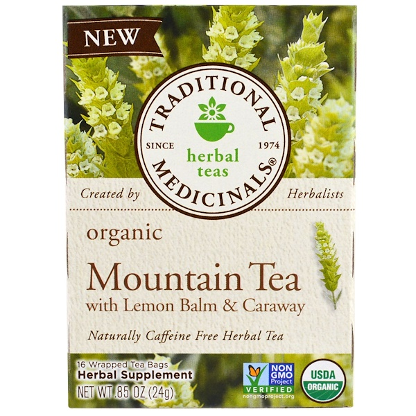 Traditional Medicinals, 有機高山茶,含蜜蜂花和葛縷子,16 包茶袋,、85 盎司(24 克)