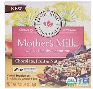 Традитионал Медисиналс, Mother's Milk, Chocolate, Fruit, & Nut, 6 Individually Wrapped Bars, 7.2 oz (204 g) отзывы