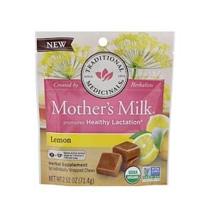 Традитионал Медисиналс, Organic, Mother's Milk, Lemon, 14 Individually Wrapped Chews, 2.52 oz (71.4 g) отзывы