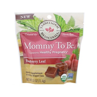 Traditional Medicinals, Organic, Mommy to Be, Raspberry Leaf, 14 Individually Wrapped Chews, 2.52 oz (71.4 g)