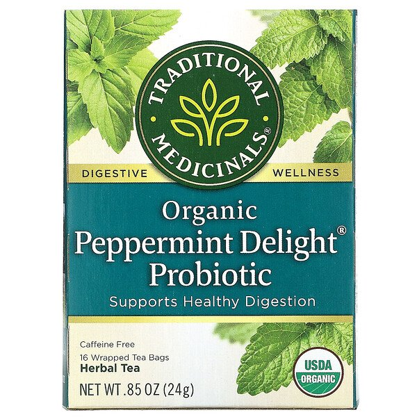Traditional Medicinals, Organic Peppermint Delight Probiotic, Caffeine Free, 16 Wrapped Tea Bags, .85 oz (24 g)