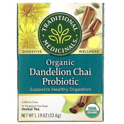 Купить Traditional Medicinals Organic Dandelion Chai Probiotic, пробиотический чайс одуванчиком, 16чайных пакетиков, 33, 6г (1, 19унции)