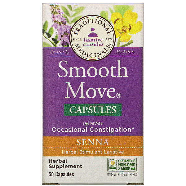 Traditional Medicinals, Smooth Move Capsules, Senna, 50 Capsules