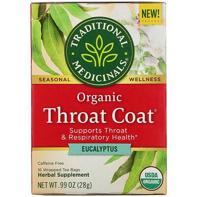 Купить Traditional Medicinals Organic Throat Coat, Eucalyptus, Caffeine Free, 16 Wrapped Tea Bags, .99 oz (28 g)