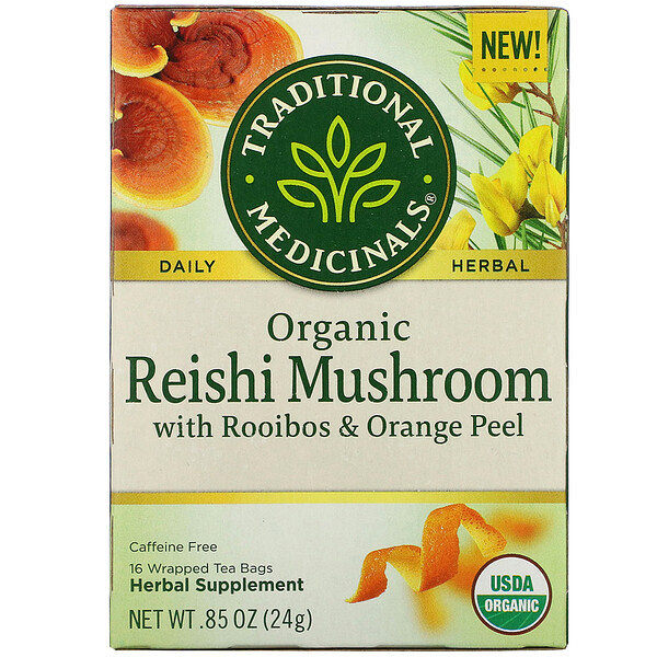 Traditional Medicinals, Organic Reishi Mushroom with Rooibos & Orange Peel, Caffeine Free, 16 Wrapped Tea Bags, .85 oz (24 g)