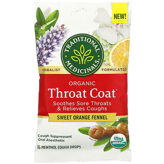 Traditional Medicinals, 有机 Throat Coat 滴剂,甜橙茴香,16 薄荷醇咳嗽缓解滴剂