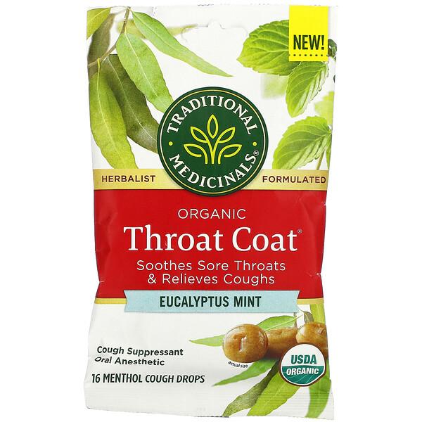 Organic Throat Coat Drops, Eucalyptus Mint, 16 Menthol Cough Drops