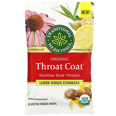 Купить Traditional Medicinals Organic Throat Coat Drops, Lemon Ginger Echinacea, 16 Pectin Throat Drops