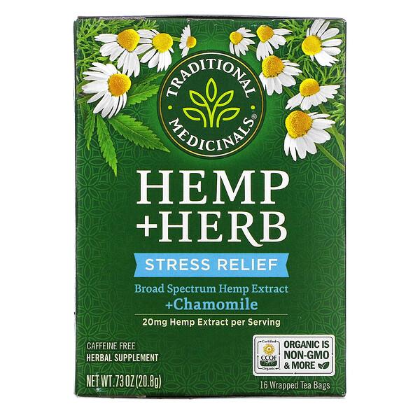Hemp+ Herb, Stress Relief, + Chamomile, Caffeine Free, 16 Wrapped Tea Bags, .73 oz (20.8 g)