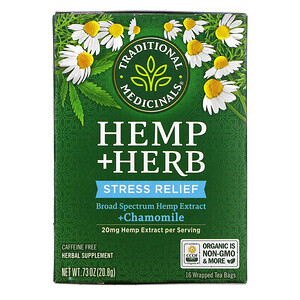 Traditional Medicinals, Hemp+ Herb, Stress Relief, + Chamomile, Caffeine Free, 16 Wrapped Tea Bags, .73 oz (20.8 g)