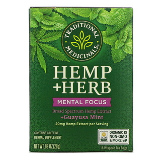 Traditional Medicinals, Hemp+ Herb, Mental Focus, +Guayusa Mint, 16 Wrapped Tea Bags, .99 oz (28 g)