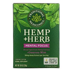 Traditional Medicinals, Hemp+ Herb, Mental Focus, +Guayusa Mint, 16 Wrapped Tea Bags, .99 oz (28 g)'