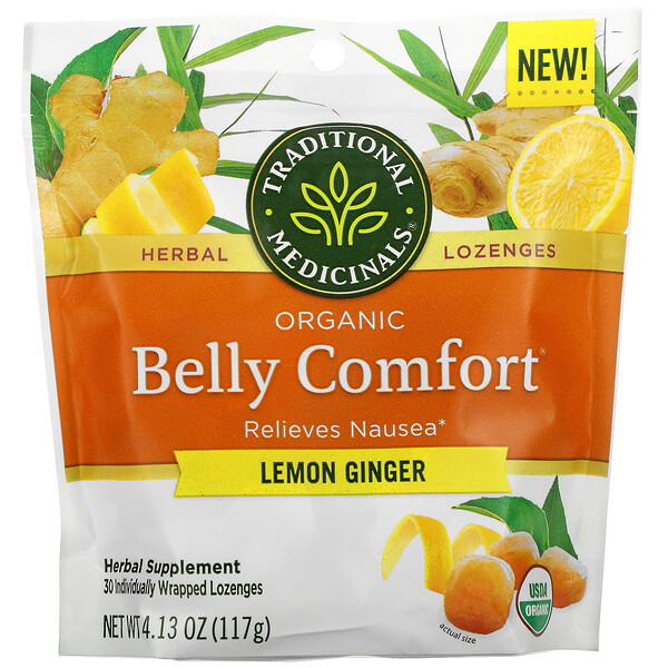 Organic Belly Comfort, Lemon Ginger, 30 Individually Wrapped Lozenges