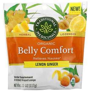 Traditional Medicinals, Organic Belly Comfort, Lemon Ginger, 30 Individually Wrapped Lozenges