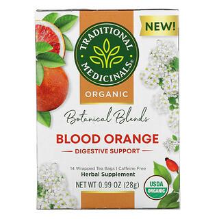 Traditional Medicinals, Organic Botanical Blends Tea, Blood Orange, Caffeine Free, 14 Wrapped Tea Bags, 0.99 oz (28 g)