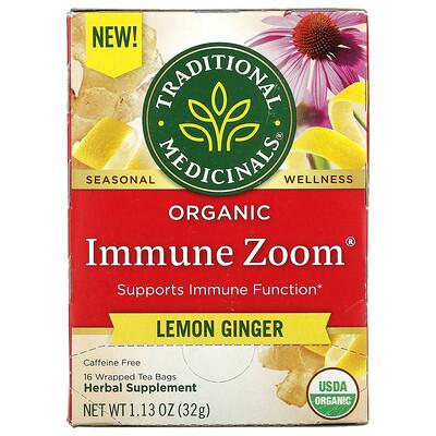 Traditional Medicinals Organic Immune Zoom, Lemon Ginger, Caffeine Free, 16 Wrapped Tea Bags, 1.13 oz (32 g)