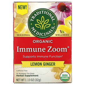 Traditional Medicinals, Organic Immune Zoom, Lemon Ginger, Caffeine Free, 16  Wrapped Tea Bags, 1.13 oz (32 g)