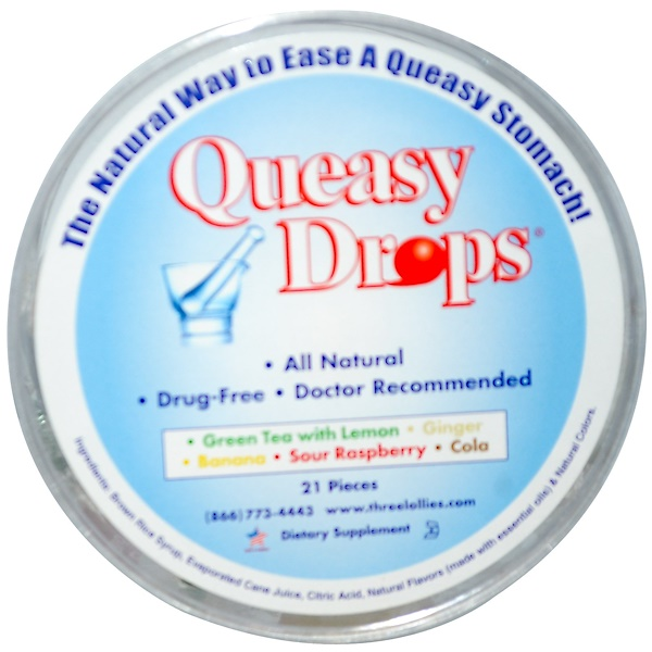 Three Lollies, Queasy Drops, 5 Flavors, 21 Pieces (Discontinued Item)
