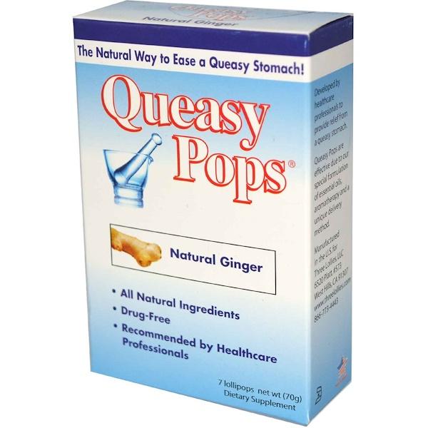 Three Lollies, Queasy Pops, натуральный имбирь 7 конфет, 10 г каждая (Discontinued Item)