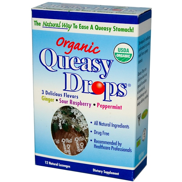 Three Lollies, Organic Queasy Drops, 3 Delicious Flavors, 12 Lozenges (Discontinued Item)