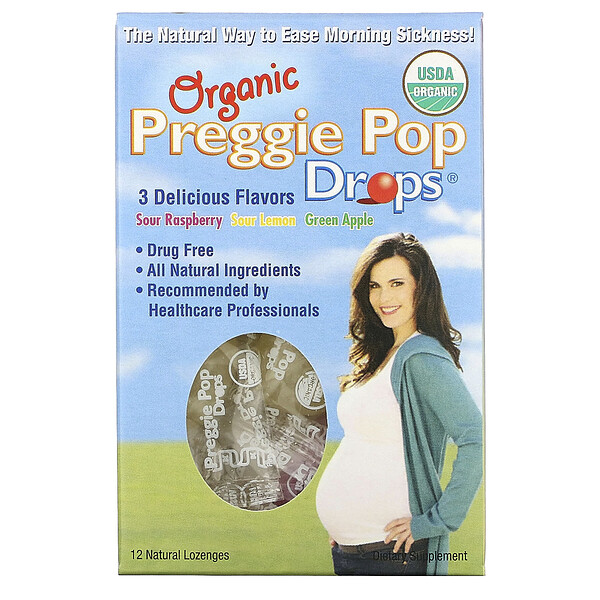 Three Lollies, Organic Preggie Pop Drops, Sour Raspberry, Sour Lemon and Green Apple, 12 Lozenges