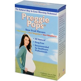 Three Lollies, Preggie Pops, Sour Fruit Flavors, 7 Lollipops (70 g)