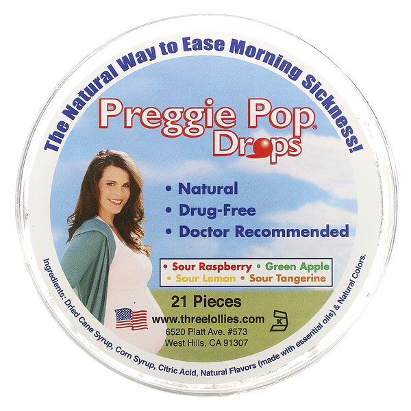 Preggie Pop Drops, Sour Fruits, 21 Pieces