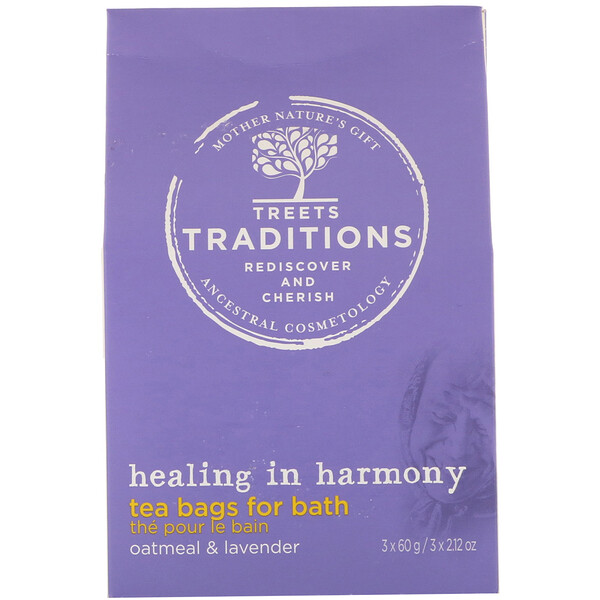 Healing in Harmony, Tea Bags for Bath, Soft Lavender, 3 Tea Bags, 2.12 oz (60 g) Each