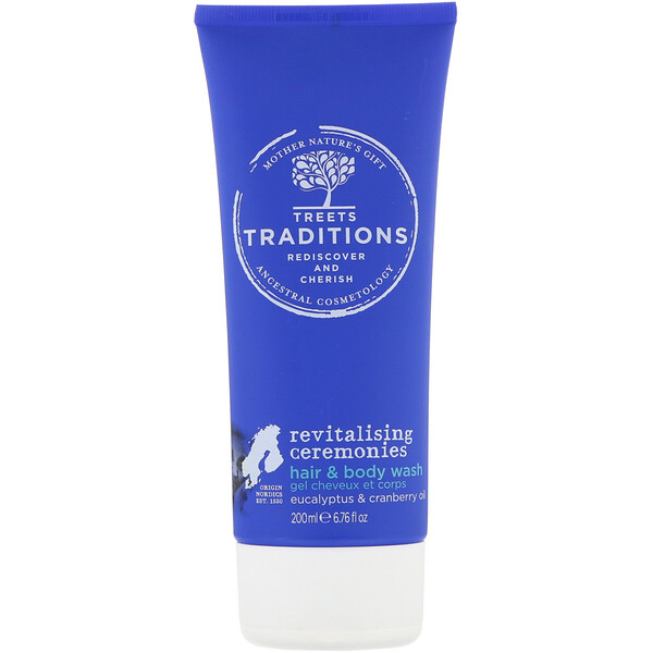 Treets, Revitalising Ceremonies, Hair & Body Wash, Refreshing Eucalyptus, 6.76 fl oz (200 ml)
