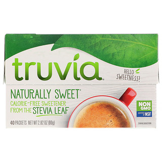 Truvia, Naturally Sweet Calorie-Free Sweetener, 40 Packets, 2.82 oz (80 g)