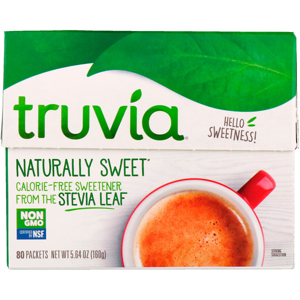 Truvia, Naturally Sweet Calorie-Free Sweetener, 80 Packets, 5.64 oz (160 g) (Discontinued Item)
