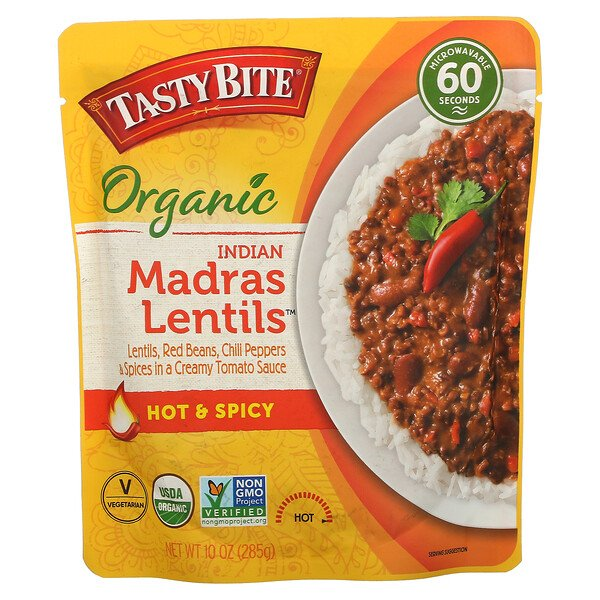 Organic Indian Madras Lentils, Hot & Spicy, 10 oz (285 g)