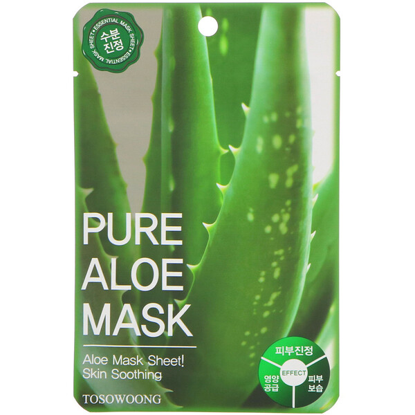 Pure Aloe Mask, 10 Sheets, 23 g Each