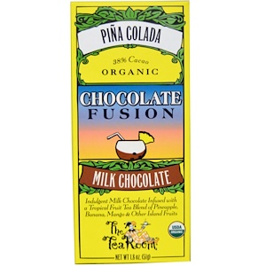 The Tea Room, Шоколадный напиток Chocolate Fusion с молочным шоколадом, Пина Колада, 1.8 унций (51 г)