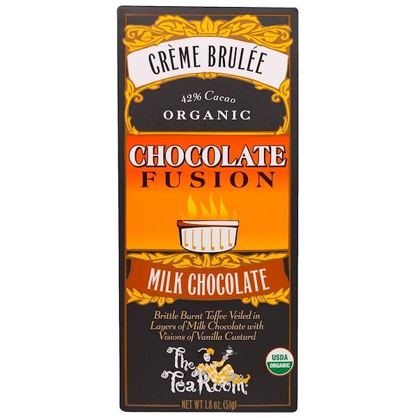 The Tea Room, Creme Brulee, Organic Chocolate Fusion, Milk Chocolate, 1.8 oz (51 g) (Discontinued Item)