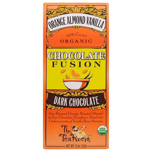 The Tea Room, Orange Almond Vanilla, Organic Chocolate Fusion, Dark Chocolate, 1.8 oz (51 g) (Discontinued Item)