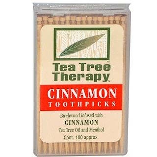Tea Tree Therapy, Зубочистки с корицей, около 100 шт.