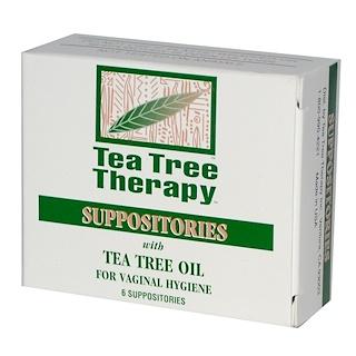 Tea Tree Therapy, 좌약, 여성 청결을 위한 티트리오일, 6 알